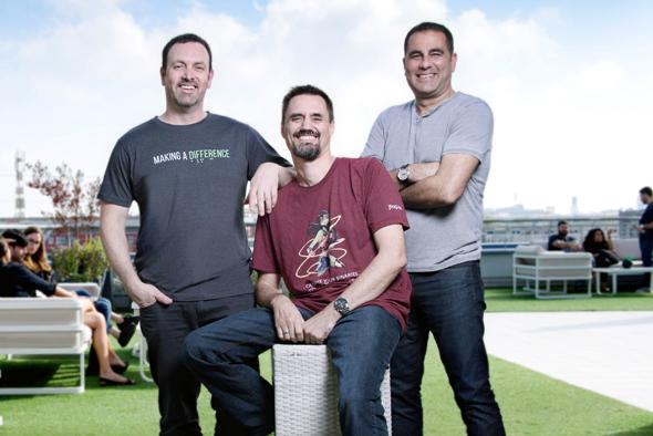 JFrog founders Yoav Landman, Frederic Simon, and Shlomi Ben Haim. Photo: Shachar Maor