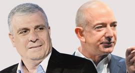 """מימין: ג'ף בזוס מנכ""""ל אמזון ואבי לוי, בעל השליטה החדש בלהב אל.אר"""