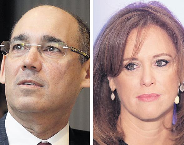 """מימין: מנכ""""לית בנק לאומי רקפת רוסק־עמינח ונגיד בנק ישראל פרופ' אמיר ירון"""