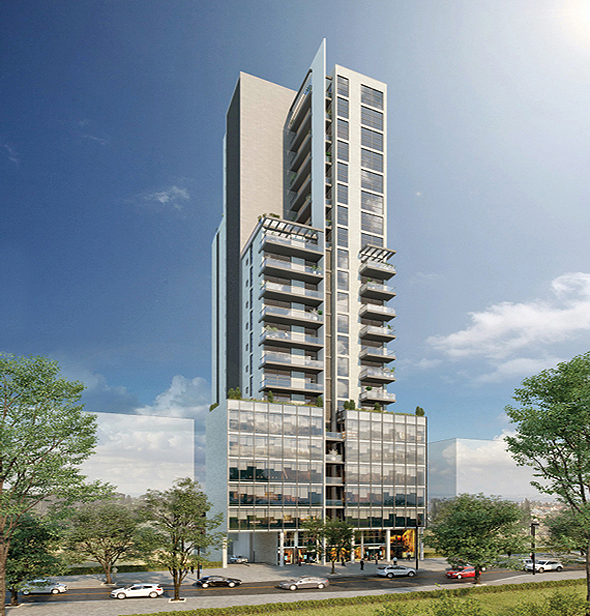 מלון Ho Mi דאון טאון. 8 קומות מלון ו-11 קומות למגורים , הדמיה: עדי בואנו