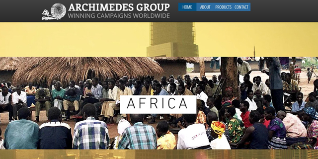 Website of Archimedes Group, linked to the fake account network. Photo: Archimedes Group