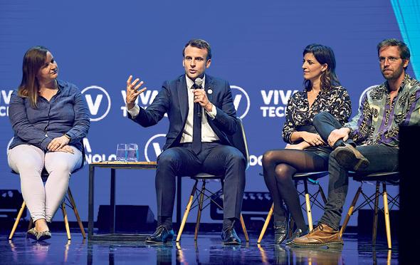 """שיא צרפת עמנואל מקרון בכנס ויוה טק, ביום חמישי בפריז. """"צרפת לא שואפת לחסום את וואווי או כל חברה אחרת"""""""