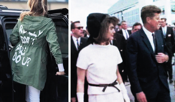 'ון וג'קי קנדי (מימין) ומלניה טראמפ בז'קט שעורר סערה. מלתחות שהשפיעו על ההיסטוריה