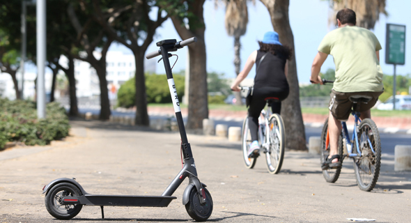 An e-scooter in Tel Aviv. Photo: Orel Cohen
