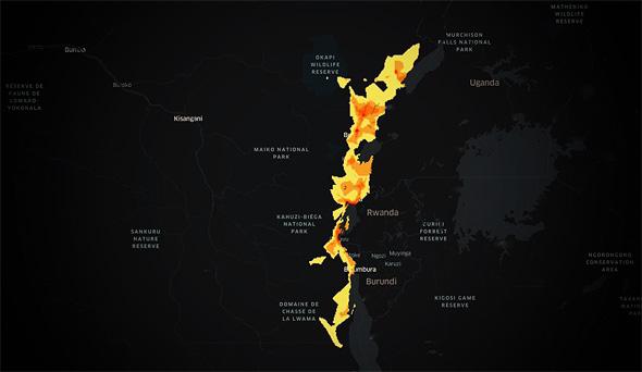 מפה המציגה זמינות רשתות תקשורת 3G באזורים בקונגו שנפגעו ממגיפת האבולה האחרונה