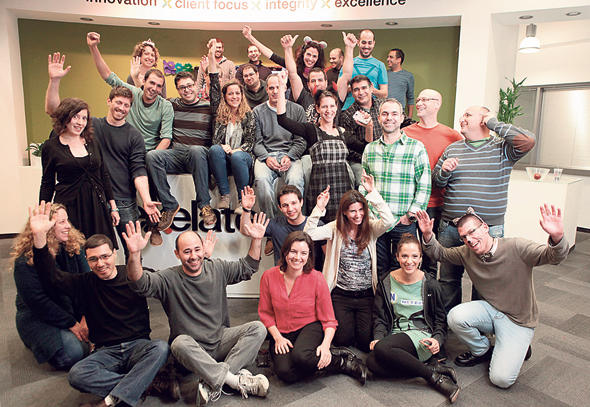 Israeli tech workers celebrate their exit (illustration). Photo: Amit Sha'al