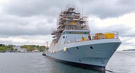 """ספינת הסער אח""""י מגן בשלבי בנייה מתקדמים ב מספנת טיסנקרופ, צילום: thyssenkrupp Marine Systems"""