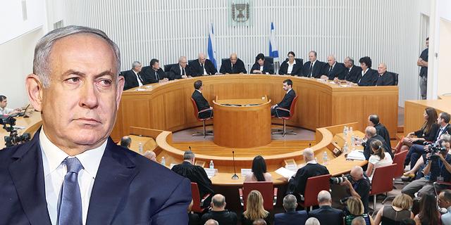 ראש הממשלה בנימין נתניהו על רקע הרכב ה שופטים של בית המשפט העליון, צילום: אלכס קולומויסקי, אלעד גרשגורן