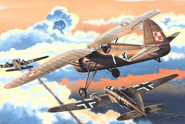 איור של מטוס קרב פולני רודף אחר מפציצים גרמנים