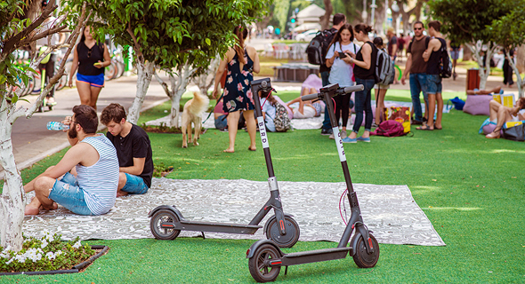 Bird scooters parked in Tel Aviv. Photo: Yuval Chen