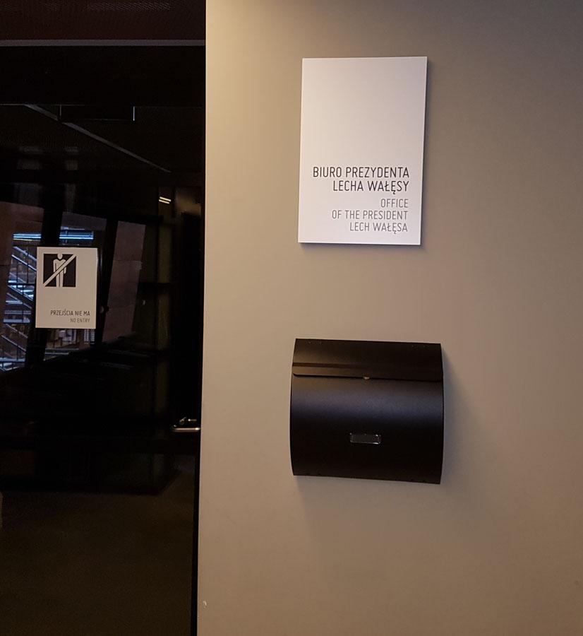 לשכתו של לך ולנסה במרכז סולידריות. בדיוק ביום הביקור הוא לא היה במשרד, צילום: דוד הכהן