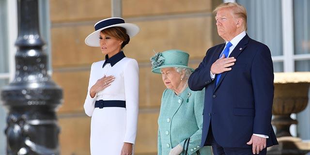 טראמפ ומלניה הגיעו לביקור בארמון בקינגהאם