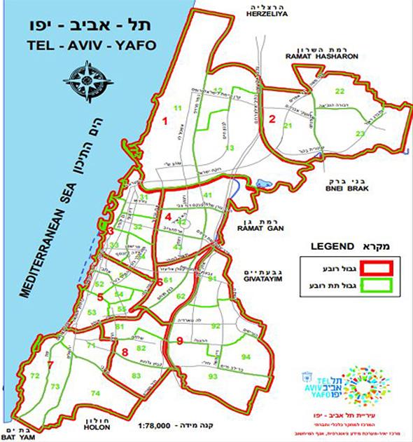 מפת הרבעים של תל אביב