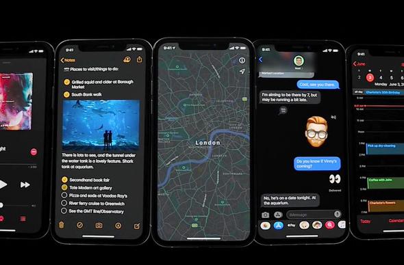 תצוגה מוחשכת ב-iOS 13, מתוך שידור חי של אפל