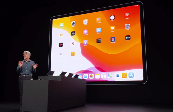 IPADOS אייפד מערכות הפעלה אפל WWDC 2019 אירוע השקת תוכנה 11, מתוך שידור חי של אפל
