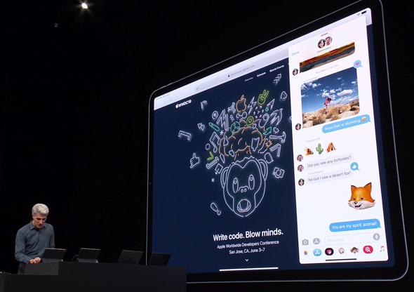 IPADOS אייפד מערכות הפעלה אפל WWDC 2019 אירוע השקת תוכנה 13, מתוך שידור חי של אפל