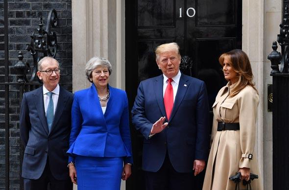 מלניה טראמפ, דונלד טראמפ, תרזה מיי ובעלה, צילום: גטי אימג