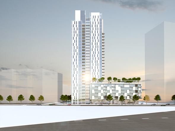 """פינוי-בינוי במתחם דפנה. כל דייר יקבל דירה הגדולה בלמעלה מ-30 מ""""ר,  הדמיה: צור אדריכלים"""