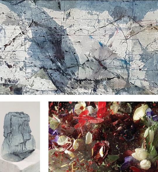 """מלמעלה בכיוון השעון: עבודה של אורלי מייברג, """"Blow Up"""" של אורי גרשט ו""""Ghost"""" של שחר יהלום, שיוצגו בתערוכה"""