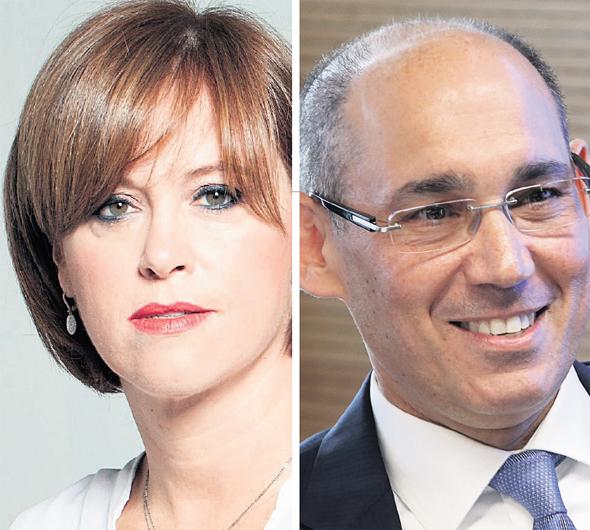 """מימין: נגיד בנק ישראל אמיר ירון ומנכ""""לית בנק לאומי רקפת רוסק עמינח"""