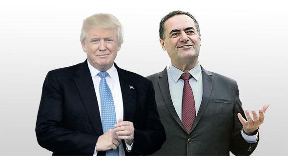 """מימין: שר התחבורה היוצא ישראל כץ ונשיא ארה""""ב דונלד טראמפ"""