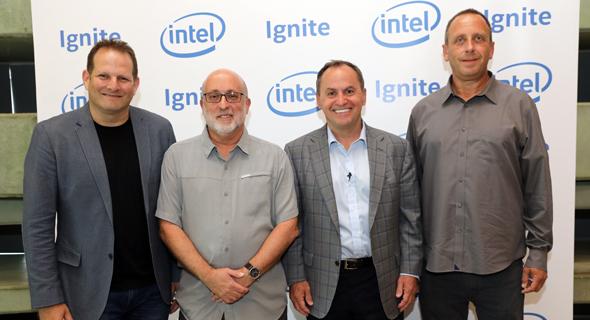 מימין: יניב גרטי, בוב סוואן, אבנר גורן וצחי וייספלד