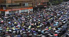 פוטו הונג קונג הפגנות נחיל מטריות , צילום: איי אף פי