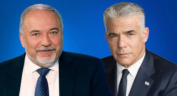 מימין יאיר לפיד ו אביגדור ליברמן, צילום: שאול גולן