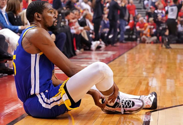NBA player Kevin Durant after an injury. Photo: Reuters