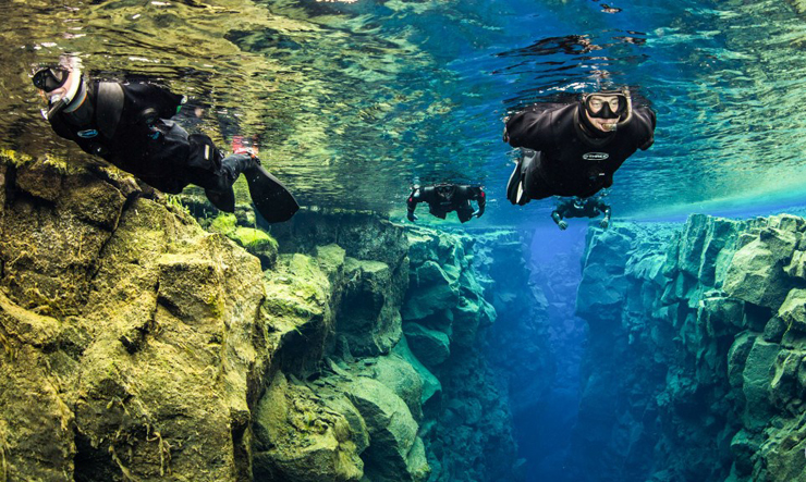 במקום ה-4: צלילה באגם סילפרה, רקיאוויק איסלנד. תוכלו לצלול בין שני לוחות טקטוניים , צילום: divesilfra