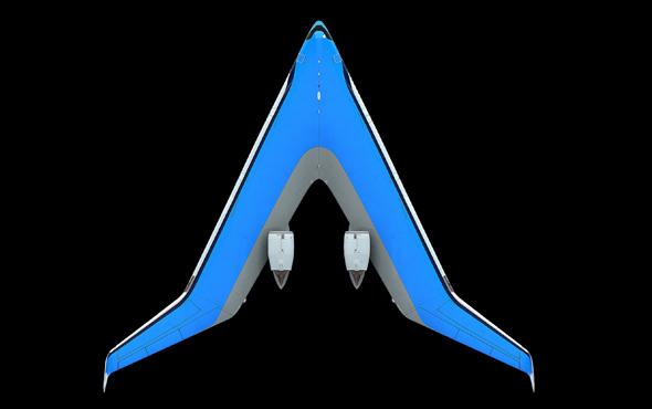 הגוף מתפקד ככנף, הכנף - כגוף. Flying V מלמעלה