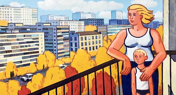 """העבודה """"Golden Autumn"""" מתוך התערוכה. """"ריאליזם חברתי מתובל בקריקטורות"""""""