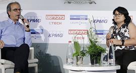 """יבגניה קרמר KPMG סומך חייקין בשיחה עם רו""""ח צוריאל תמם בנק ישראל כנס פינטק 2019, צילום: עמית שעל"""