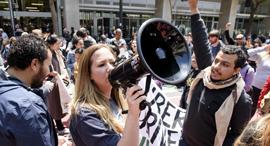 הפגנה של עובדי אובר בסן פרנסיסקו, צילום: בלומברג