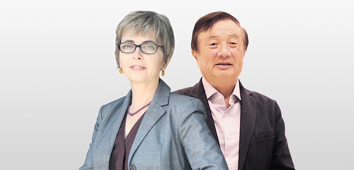 """מייסד ומנכ""""ל וואווי רן ז'נגפיי והממונה על התחרות מיכל הלפרין. קיבלה החלטה כי חברות התשתיות הסיניות לא יוכרזו כקבוצת ריכוז"""