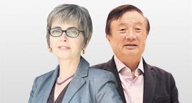 """מימין: מייסד ו מנכ""""ל וואווי רן ז'נגפיי ו הממונה על התחרות מיכל הלפרין, צילומים: תומריקו, Qilai Shen"""