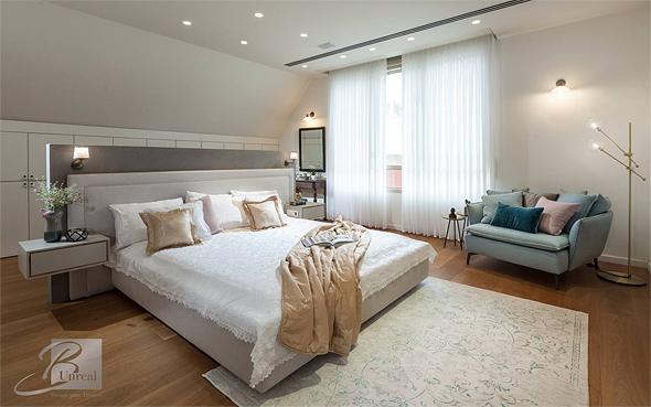 חדר שינה בעיצובה של בלה שבירו. מעצב הפנים אמון על תחומים נרחבים החורגים מההיבט האסתטי