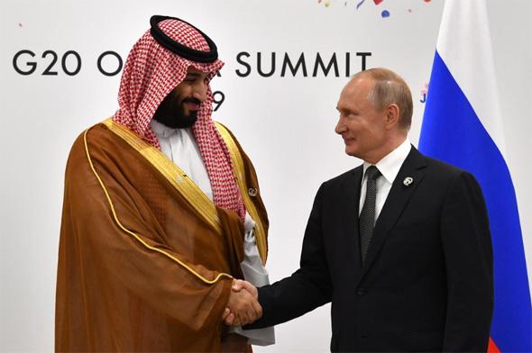 נשיא רוסיה פוטין עם יורש העצר הסעודי בן סלמאן