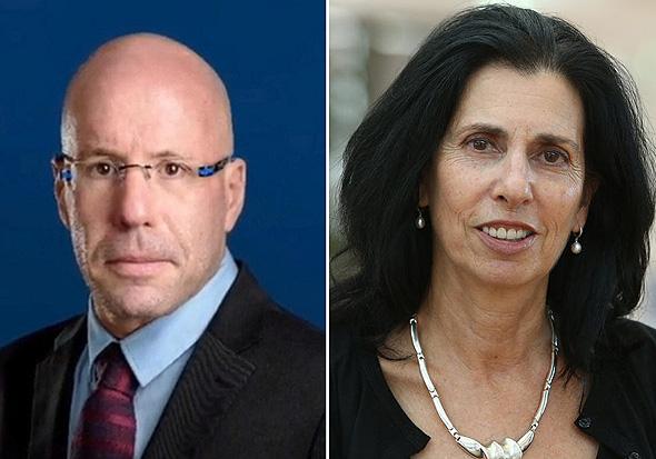 מימין הממונה על הרשות לשעבר דורית סלינגר ונשיא לשכת הסוכנים ליאור רוזנפלד, צילום: אוראל כהן