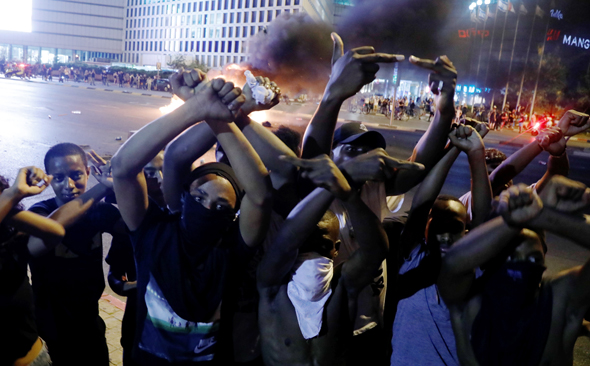 Members of the Ethiopian community protesting in Tel Aviv in July. Photo: Shaul Golan