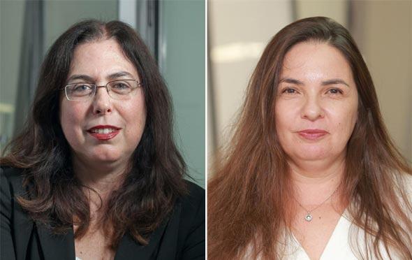 """מימין: עו""""ד ציפי גז ועו""""ד אילנה ליפסקר־מודעי, מחלקת החקירות של רשות ני""""ע"""