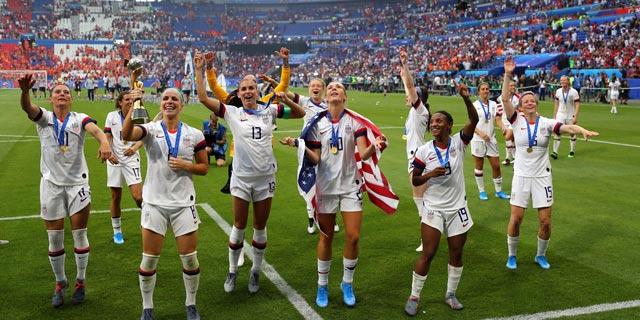"""נבחרת ארה""""ב בכדורגל נשים, אלופת העולם, צילום: גטי אימג"""