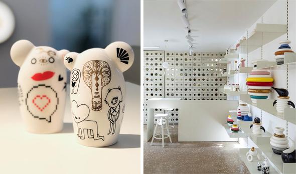 """גלריה Kahn החדשה (מימין) ופונים שמוצגים בה. """"כל אחד מציג תפיסת עיצוב אחרת"""", צילום: Amit Geron"""