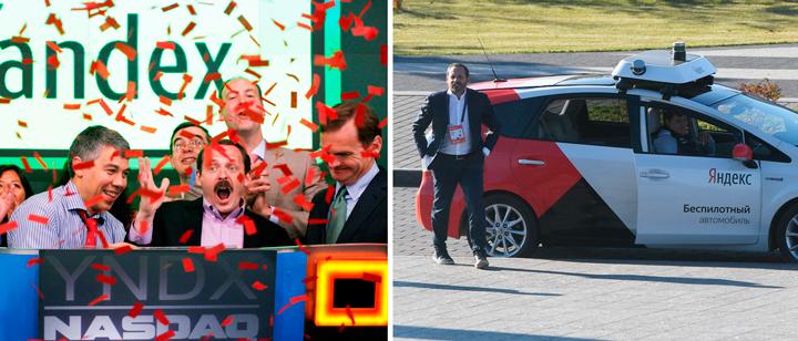"""וולוז' עם המכונית האוטונומית של יאנדקס (מימין); ובכירי יאנדקס בעת ההנפקה (וולוז' צוהל במרכז). """"אנחנו הסיליקון ואלי הרוסי"""""""