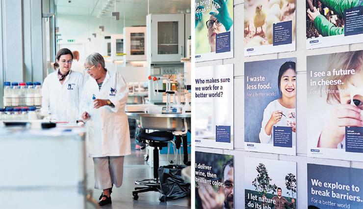 מימין: קיר הכרזות לשיפור העולם, ועובדי כריסטיאן הנסן במעבדות. 7% מתקציב החברה ו־14% מכוח האדם מופנים למחקר ופיתוח