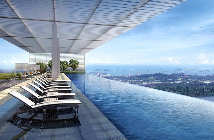 נוף מהבריכה גדולה יותר, צילום: Wallich Residence