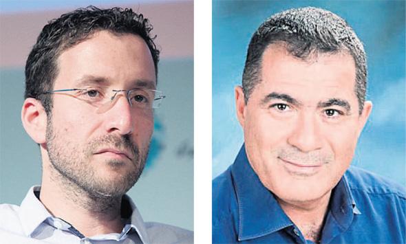 מימין: נשיא התאחדות בוני הארץ ראול סרוגו וחבר הכנסת איציק שמולי, צילומים: עמית שעל, רינת הלון