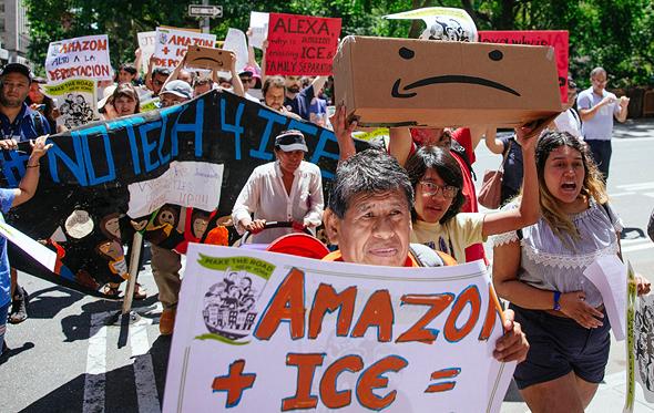 אמזון מחאה עובדים פריים דיי 16.7.19, צילום: גטי אימג'ס