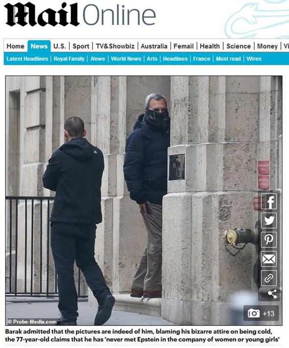 התמונה שפרסם הדיילי מייל עם תמונתו של ברק, צילום מסך: דיילי מייל