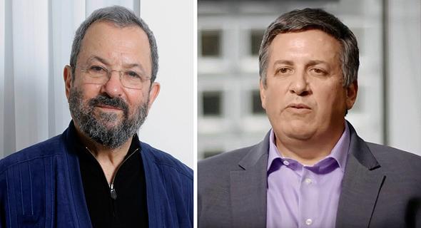 מימין איש העסקים אנדרו אינטרטר וראש הממשלה לשעבר אהוד ברק, צילום: youtube, עמית שעל
